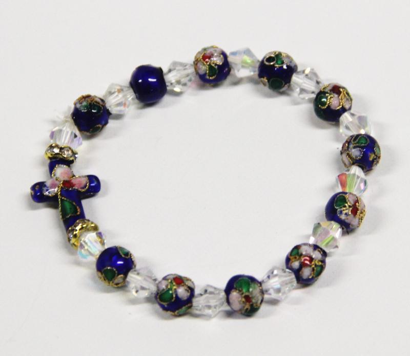 bracelet bleu blanc avec des petites fleurs. Black Bedroom Furniture Sets. Home Design Ideas
